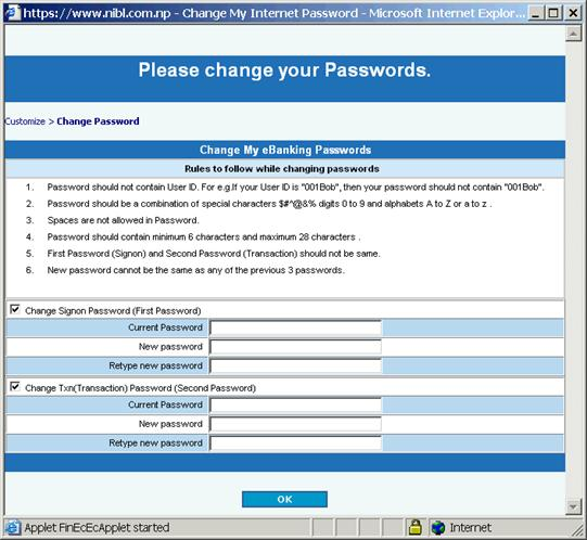 how to change password on manulife bank account